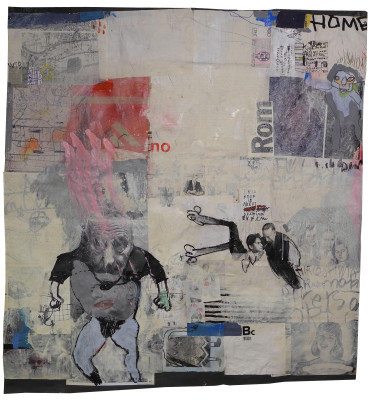 mixed media collage on paper.  cm. 120x120. 2011